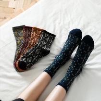 Retro Style Rhombus Printed Socks