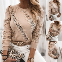 Fashion Lace Spliced Long Sleeve Round Neck Knit Top