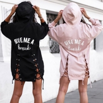 Fashion Letters Printed Lace-up Hem Hooded Sweatshirt Dress