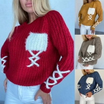 Fashion Contrast Color Long Sleeve Round Neck Lace-up Sweater