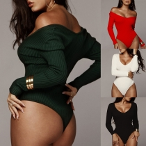 Sexy V-neck Long Sleeve Solid Color Bodysuit