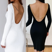 Sexy Backless Long Sleeve Round Neck Slim Fit Chain Dress