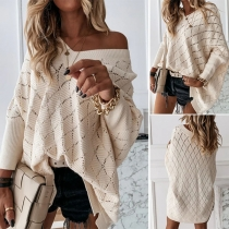 Long Solid Color V-neck Dolman Sleeve Hollow Out  Knitted Top