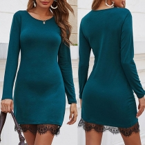Solid Color Round Neck Lace Spliced Hem Long Sleeve Slim Fit Dress