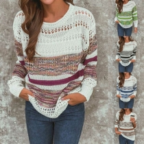 Contrast Color Round Neck Long Sleeve Hollow Out Knitted Top