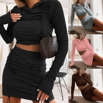Solid Color Hooded Long Sleeve Crop Top+Skirt Two-piece Set(The size falls small)