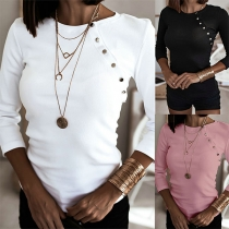 Solid Color Round Neck Button Long Sleeve Top
