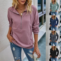 Fashion Solid Color Stand Collar Long Sleeve Sweatshirt