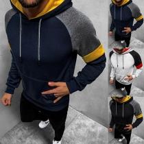 Fashion Contrast Color Long Sleeve Hooded Man's Sweatshirt