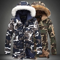 Fashion Faux Fur Spliced Hooded Camouflage Printed Man's Padded Coat