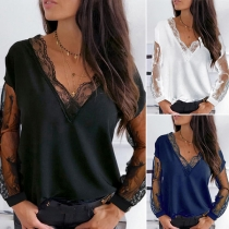 Sexy Lace Spliced V-neck Long Sleeve Solid Color T-shirt