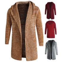 Fashion Mixed Color Long Sleeve Hooded Man's Knit Cardigan