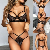Sexy Hollow Out See-through Lace Lingerie Set