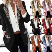OL Style Leopard Printed Long Sleeve Slim Fit Suit Coat