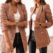 OL Style Long Sleeve Notched Lapel Slim Fit Plaid Blazer Coat