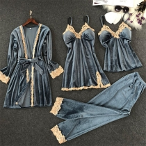 Fashion Lace Spliced Sling Top + Sling Dress + Pants +Robe Nightwear Four-piece Set