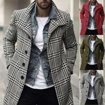 Fashion Long Sleeve Single-breasted Man's Plaid Coat
