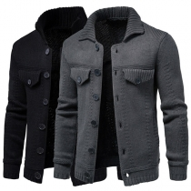 Fashion Solid Color Long Sleeve POLO Collar Single-breasted Man's Knit Coat