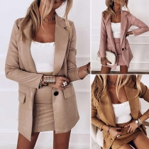 OL Style Long Sleeve Solid Color Blazer + Skirt Two-piece Set