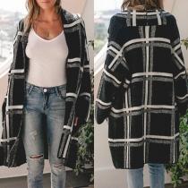 Fashion Long Sleeve Loose Plaid Knit Cardigan