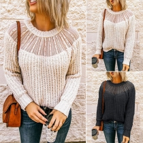 Fashion Solid Color Long Sleeve Round Neck Knit Top