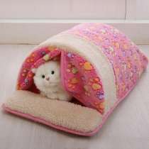 Fashion Contrast Color Printed Plush Sleeping Bag for Pets