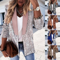 OL Style Long Sleeve POLO Collar Slim Fit Blazer Coat