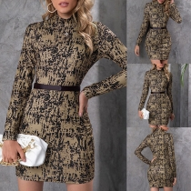 Retro Style Long Sleeve Stand Collar Slim Fit Printed Dress