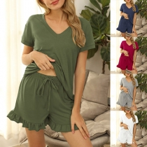 Fashion Solid Color Short Sleeve V-neck Top + Shorts Home-wear Two-piece Set