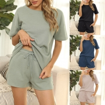 Simple Style Short Sleeve Solid Color T-shirt + Shorts Nightwear Two-piece Set