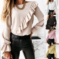 Fashion Solid Color Trumpet Sleeve Round Neck Ruffle Top