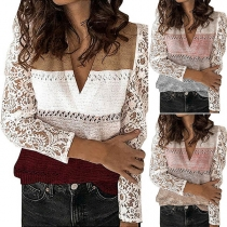 Fashion Lace Spliced Long Sleeve V-neck Contrast Color Knit Top