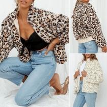 Fashion Long Sleeve Stand Collar Leopard Printed Plush Coat