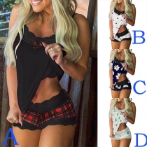 Sexy Lace Spliced Sing Top + Shorts Printed Nightwear Set