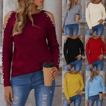 Sexy Off-shoulder Long Sleeve Round Neck Beaded Knit Top