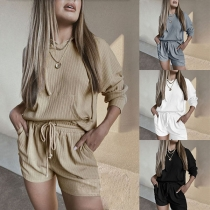 Fashion Solid Color Long Sleeve HoodedT-shirt + Shorts Home-wear Two-piece Set