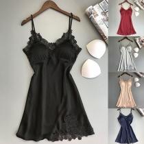 Sexy Backless V-neck Lace Spliced Sling Nightwear Dress