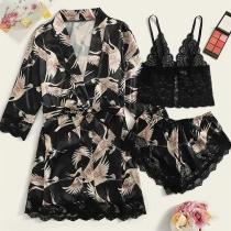 Sexy Lace Spliced Sling Top + Shorts + Robe Nightwear Three-piece Set