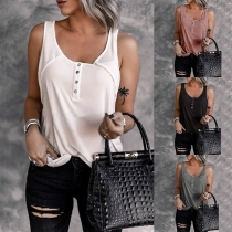 Simple Style Solid Color U-neck Tank Top
