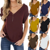 Simple Style Short Sleeve V-neck Solid Color T-shirt