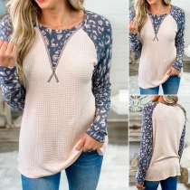 Fashion Printed Spliced Long Sleeve Round Neck Knit Top