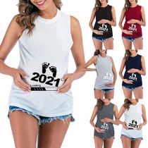 Simple Style Sleeveless Round Neck Footprint Printed Maternity T-shirt