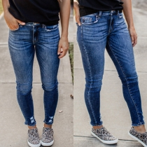 Fashion Middle Waist Slim Fit Ripped Jeans