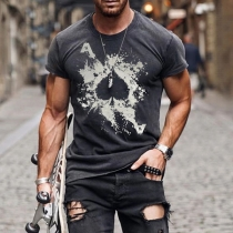Casual Style Short Sleeve Round Neck Ace of Spades Printed Man's T-shirt