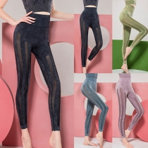 Sports Style High Waist Solid Color Gauze Spliced Stretch Leggings