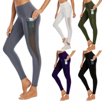 Sports Style High Waist Gauze Spliced Stretch Leggings
