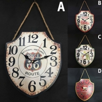 Retro Style Shield Shaped Decoration Wall Clock