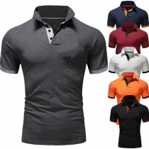 Fashion Contrast Color Short Sleeve Man's POLO T-shirt