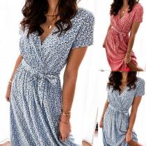 Fresh Style Short Sleeve V-neck High Waist Printed Dress