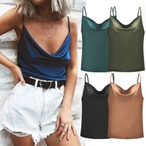 Sexy Backless Cowl Neck Solid Color Sling Top